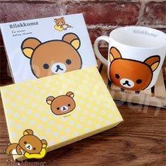 【真愛日本】18032900006 陶瓷寬口馬克杯附禮盒-懶熊大臉 san-x 拉拉熊 懶熊 杯子 陶瓷馬克杯