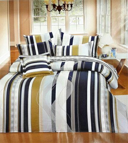 直條藍調木紋 雙人 床包+枕頭套x2