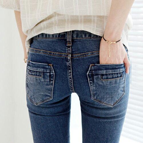 褲子 - 修身刷白窄管牛仔長褲【23309】藍色巴黎 - 現貨+預購 1