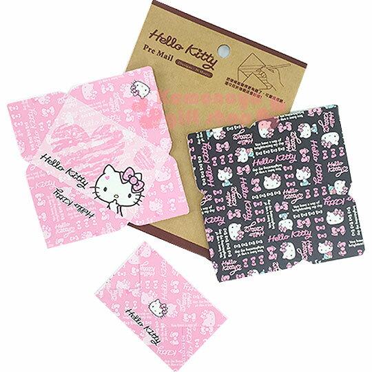 〔小禮堂〕Hello Kitty 信封便條紙《小.粉黑.大臉.蝴蝶結》2款圖案
