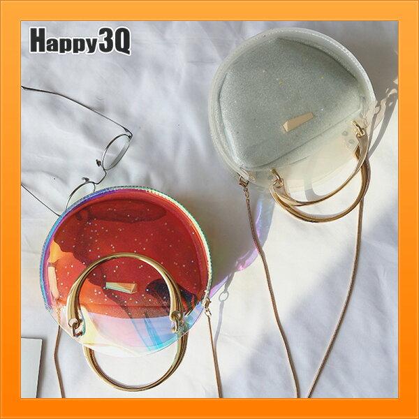 圓形包鍊條包鎖鏈包手提包斜背包透明小包包子母包透視包-紅黑白【AAA4217】