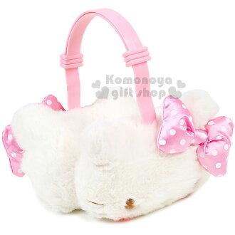 〔小禮堂〕Hello Kitty 造型兒童絨毛耳罩《粉.腮紅.大臉.點點蝴蝶結》2017溫暖冬季系列