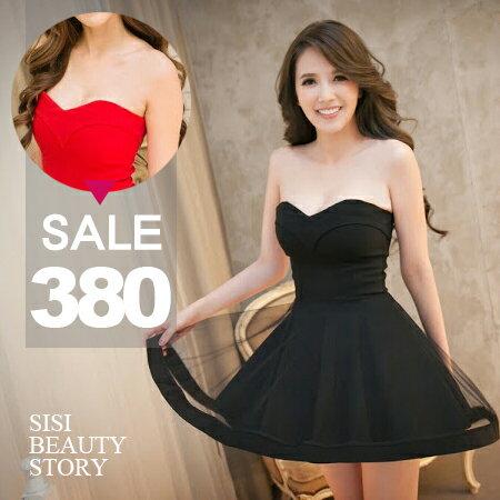 SISI~D6073~性感浪漫平口網紗拼接修身縮腰傘襬短裙連身裙禮服露背蓬蓬裙晚禮服洋裝^