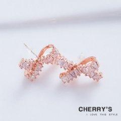 鋯石蝴蝶結造型耳環【櫻桃飾品】【10464】
