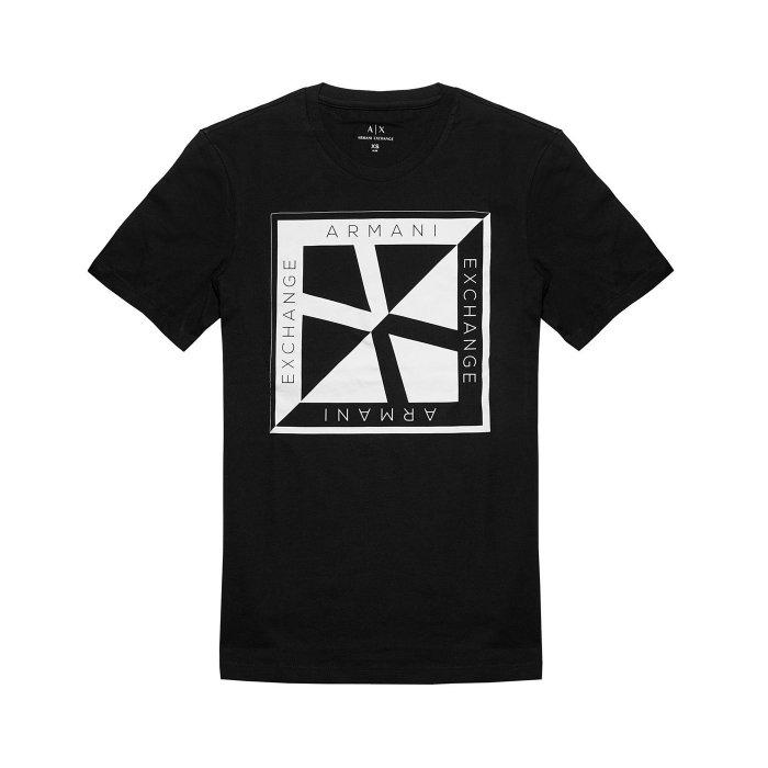 美國百分百【Armani Exchange】T恤 AX 短袖 logo 短T 上衣 T-shirt 設計 黑色 XS號 H842