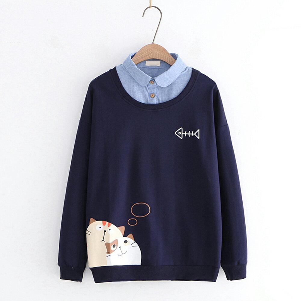 日系森女幻想貓咪印花牛仔領假兩件上衣(2色M,L)【OREAD】 0