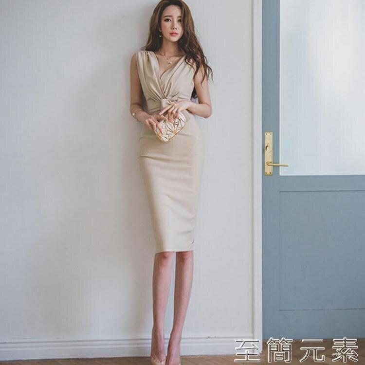 夏季洋裝無袖修身包臀裙OL氣質深V系帶名媛女裝韓版禮服裙