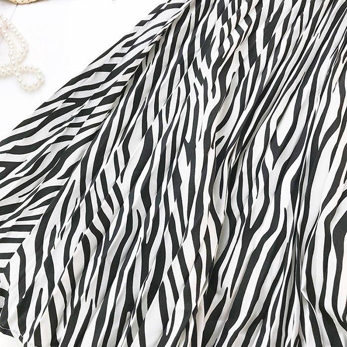 長裙 復古 斑馬紋 印花 皺褶 及膝裙 鬆緊腰 長裙【HA418】 BOBI  02 / 14 5