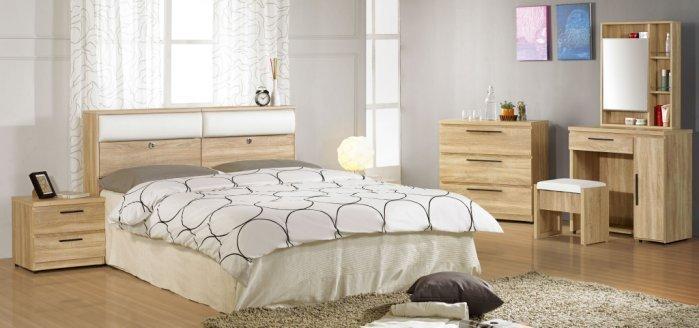 【尚品家具】JF-053-A 凱文5尺橡木紋被櫥雙人床組