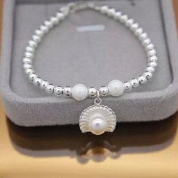 925純銀手鍊 珍珠手環 貝殼設計生日 飾品