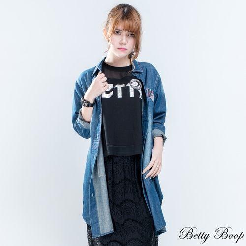 外套 Betty Boop 刷色丹寧口袋長版外套 - 限時優惠好康折扣