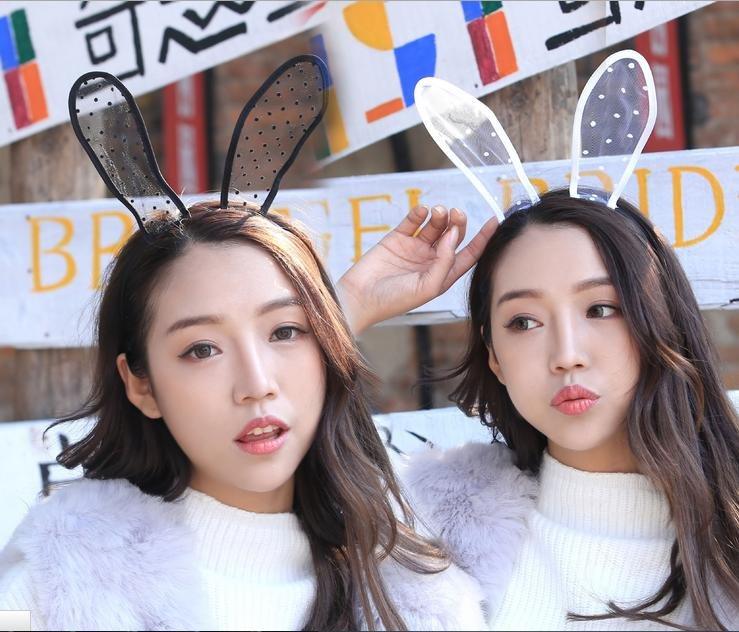 W0005 新款長兔耳朵蕾絲圓點 可愛賣萌角色扮演配件髮飾頭飾髮箍 2色