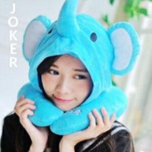 美麗大街【106010821】藍色大象 造型連帽U型靠枕 頸枕 辦公室小物