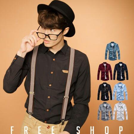 《全店399免運》Free Shop【QJFK3412】日韓系 款皮標口袋素色素面簡約牛津工作襯衫長袖襯衫‧七色