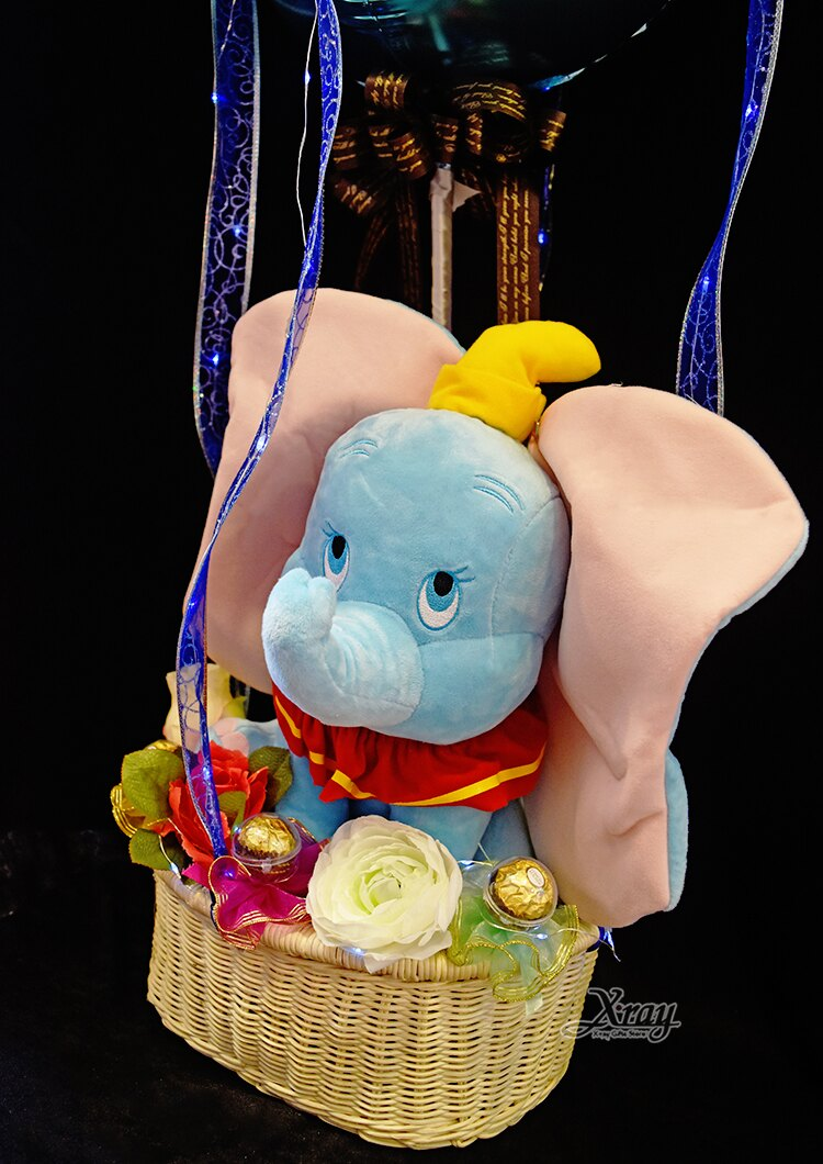 30cm坐姿小飛象幸福熱氣球,捧花 / 情人節金莎花束 / 熱氣球 / 畢業花束 / 亮燈花束 / 情人節禮物 / 婚禮佈置 / 生日禮物 / 派對慶生 / 告白 / 求婚,X射線【Y184081】 2