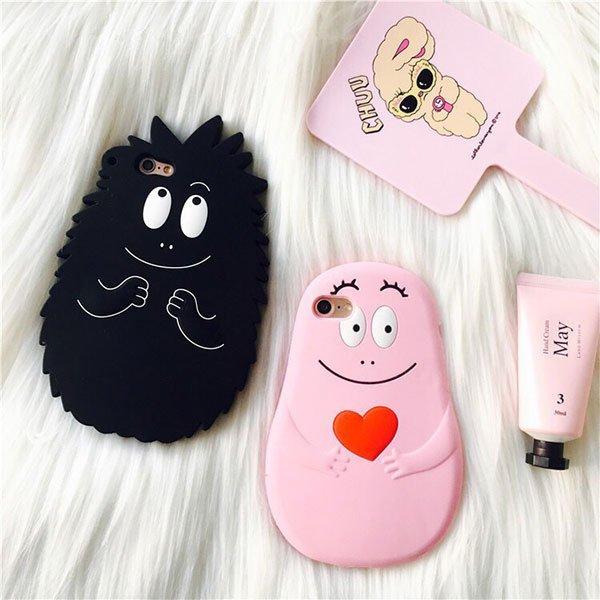 泡泡先生 手機殼 iPhone 6 7 plus 保護套 矽膠 軟殼 情侶 情人節禮物 粉黑 韓國 眼睛笑臉 范冰冰