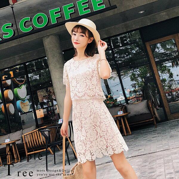 AT日韓-韓國,短袖蕾絲裙套裝,兩件成套【803057】