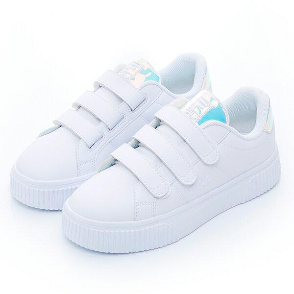 Shoestw【5C310T113】FILA COURT DELUXE 休閒鞋 厚底 增高 魔鬼氈 皮革 雷射 白色 仙杜瑞拉 女生 1