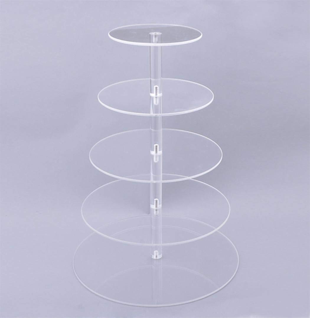 5 Tier Cupcake Stand, Crystal Clear Acrylic Cupcake Display Stand Round Tower Cupcake Dessert Display Stand (US Stock) (5 Tier) 2