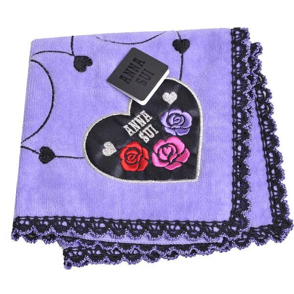 ANNASUI可愛玫瑰愛心圖騰字母愛心LOGO刺繡小方巾(紫色)