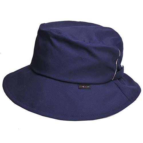 DAKS 經典品牌格紋滾邊潑水加工晴雨兩用漁夫帽(藍色)