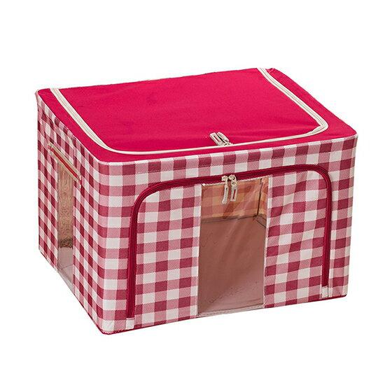 ♚MY COLOR♚格紋折疊鋼架儲物收納箱 66公升 收納盒 衣物 棉被 置物箱 居家收納 造型收納箱【Z80】