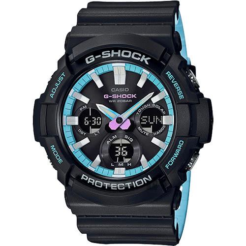 CASIO 卡西歐 G-SHOCK 陽能電力 霓虹藍運動雙顯男錶 防水手錶 軍錶(限量) GAS-100PC-1ADR 原廠公司貨 附保證卡 保固期一年 手錶 運動錶 電子錶