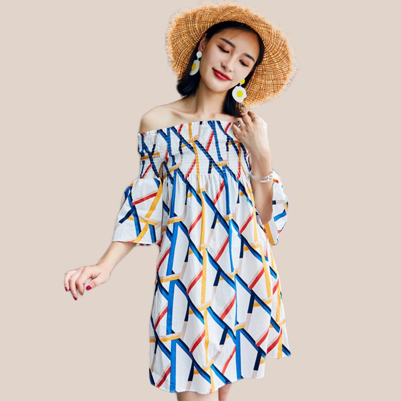 波西米亞--時尚甜美夏季渡假風格露肩喇叭五分袖一字領連身裙(白L-3L)-D514眼圈熊中大尺碼 0