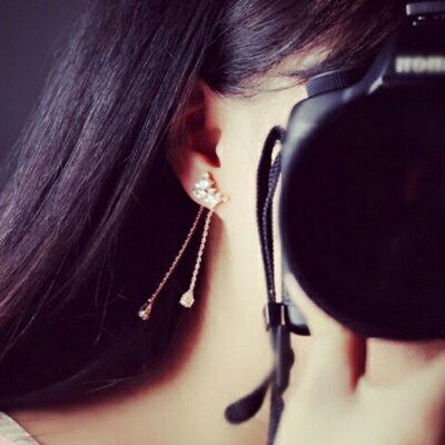 ~925純銀耳環鑲鑽耳飾~ 甜美修臉流蘇情人節生日 女飾品2色73du12~ ~~米蘭 ~