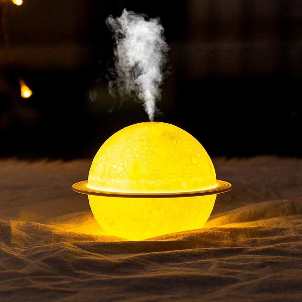 創意月球加濕器空氣凈化香薰靜音USB充電床頭小夜燈星球燈凈化器