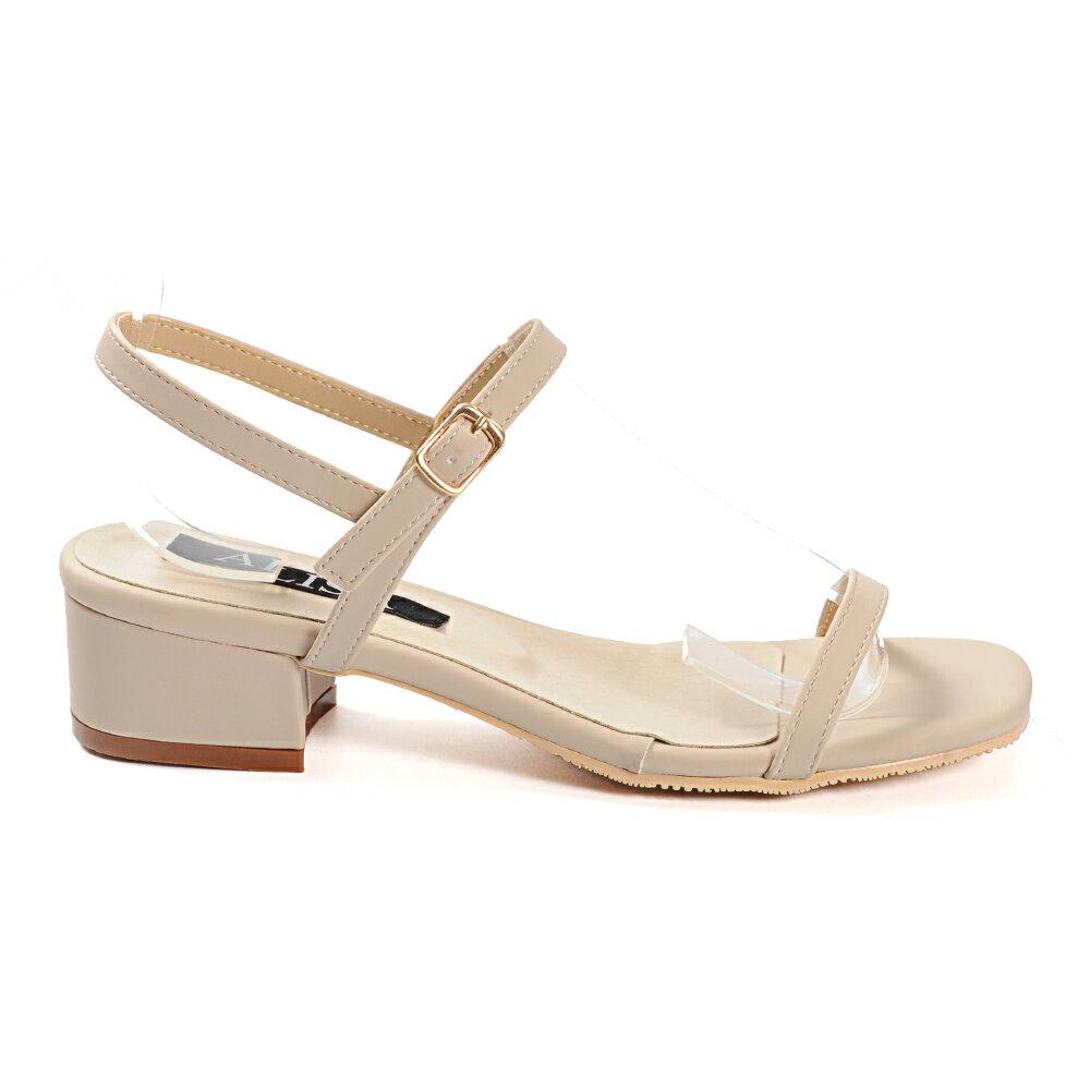 涼鞋 簡約一字帶側釦方頭低跟涼鞋-米