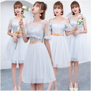 天使嫁衣【BL156】灰色蕾絲網紗花朵腰帶4款收腰短禮服˙預購客製款