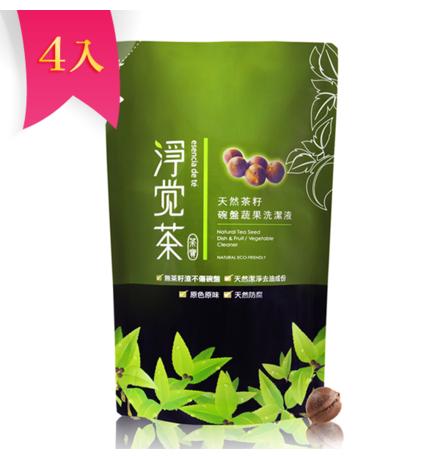 【淨覺茶】天然茶籽蔬果碗盤洗潔液補充包 700ml x 4入(獨家優惠組)