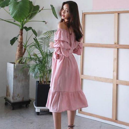 韓國空運 / 泡泡褶皺荷葉邊洋裝 /小首爾
