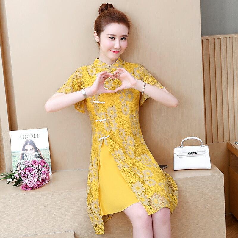 夏季新款中國風少女文藝復古蕾絲改良旗袍短裙大碼顯瘦連衣裙1入