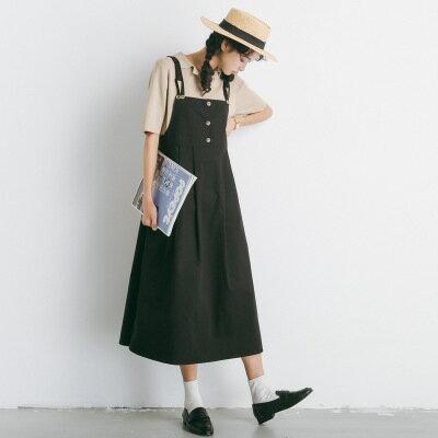 高腰吊帶裙背帶裙連身裙洋裝樂天時尚館。預購。[全店免運]