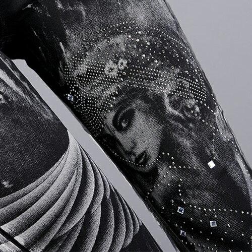 免運 !! 褲子 - 刷白特效水鑽天使印花窄管褲【23303】藍色巴黎《M~L》現貨+預購 2