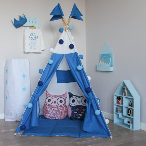=優 =~夏日野餐季 ~韓國藍白純棉寶寶帳篷 寶寶嬰兒遊戲屋 野餐帳篷 野餐墊 兒童拍攝道