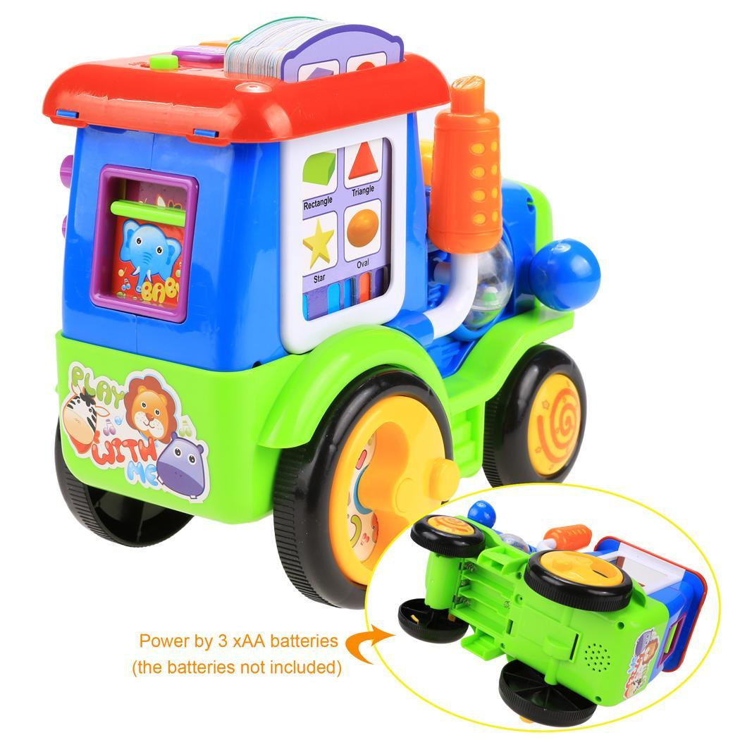 Baby Light Music Card Learning Educational Electric Train Rractor Pull Toy 4