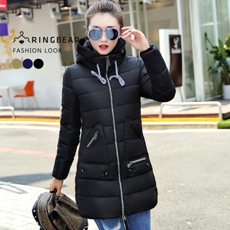 保暖--帥氣有型抽繩連帽羅紋縮口袖顯瘦版型羽絨棉外套(黑.藍.綠XL-3L)-J317眼圈熊中大尺碼 1