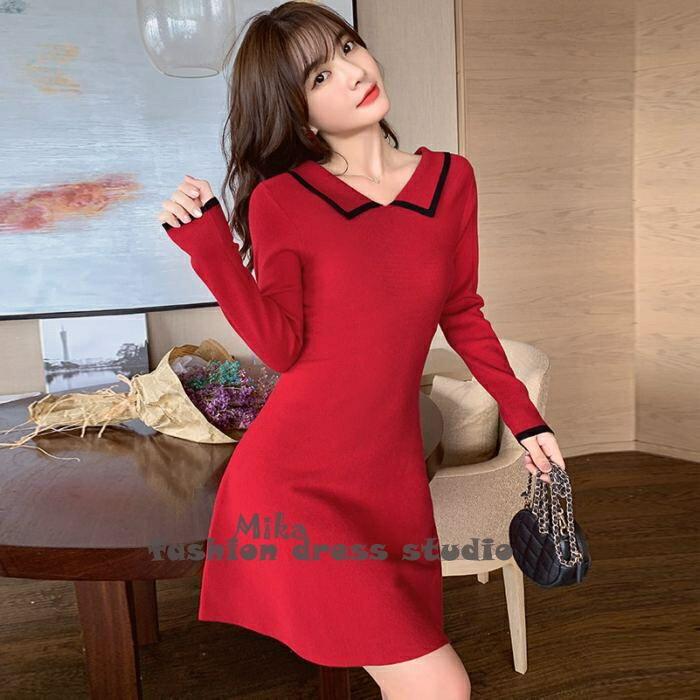 洋裝 秋裝韓版新款娃娃領撞色裙子收腰顯瘦小個子短款針織連身裙交換禮物