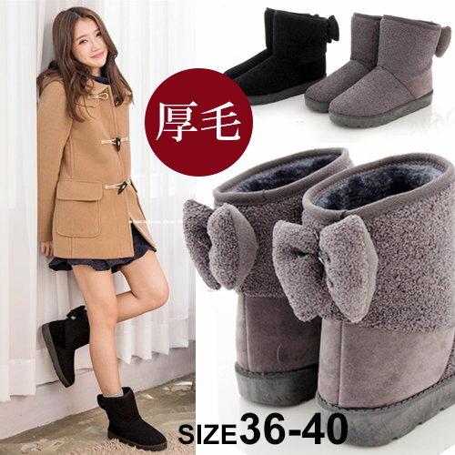 ~AR8015~1~ 暖呼呼厚毛料 可愛俏皮後蝴蝶結 毛呢麂皮 防滑膠底短筒雪地靴 雪靴