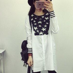 美麗大街【IR2123】民族風星星圖騰長袖連衣裙洋裝