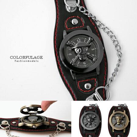 One Piece 海賊王 經典骷髏開蓋式雅痞造型皮革手錶 柒彩年代【NE1630】原廠平行輸入