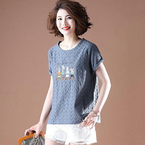 純棉短袖韓版寬鬆刺繡T恤(4色L~5XL)【OREAD】 3