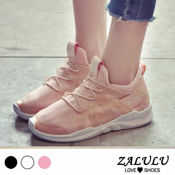 ZALULU愛鞋館7DE036預購帥氣休閒平底透氣布鞋-白粉黑-偏小-36-40