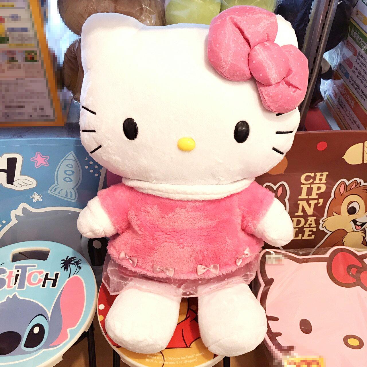 【真愛日本】17100400009 絨毛娃24吋-KT粉點洋裝 三麗鷗 Hello Kitty凱蒂貓 日用品