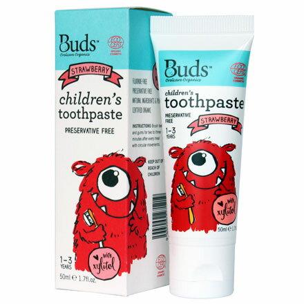 【悅兒園婦幼生活館】Buds 芽芽有機 木醣醇牙膏-草莓50ml (1-3歲)