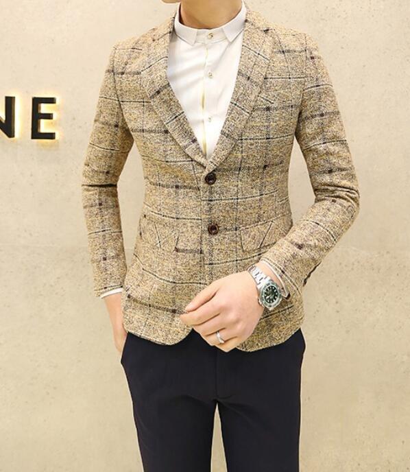 FINDSENSE品牌 韓國男 米色大格子 小西裝 修身西裝 西裝外套 單件外套