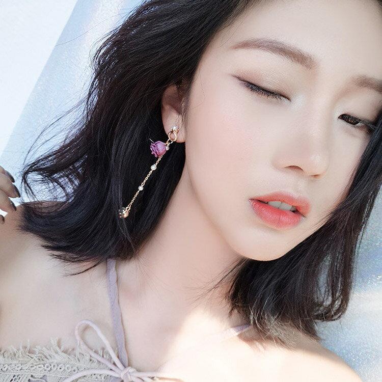 [現貨] 甜美玫瑰花珍珠流蘇耳環 耳針 MHW8509